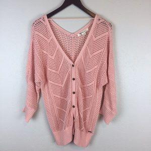 ROXY knit button up sweater